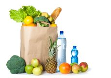 A variety of useful products on a white background. Health food. Horizontal photo Stock Photography