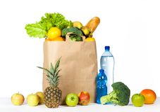A variety of useful products on a white background. Health food. Horizontal photo Stock Photo
