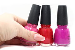 Variety of varnishes. Three color varieties of varnishes Royalty Free Stock Photo