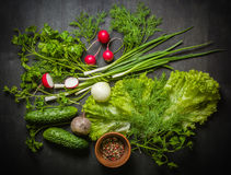 Variety of vegetables on a black wooden table with a red checkered cloth. View from above Royalty Free Stock Photos