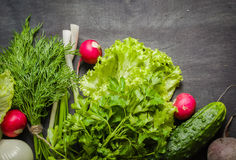 Variety of vegetables on a black wooden table. Spring still life. View from above Stock Images
