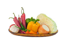 Variety vegetables on dish Royalty Free Stock Images
