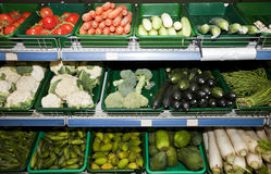 Variety of vegetables on display in supermarket Royalty Free Stock Image