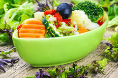 Variety of vegetables with feta cheese sauce in green dish Royalty Free Stock Photo