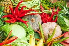 Variety of vegetables and fruit. Colorful and Fresh, chili peppe. R, pumpkin, cabbage, pineapple, and other tropical vegetables. Vegetarian. Full frame. Close-up Royalty Free Stock Images