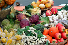 Variety of Vegetables & Fruits at farmer marketplace Stock Images