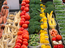 Variety of Vegetables at Market. A variety of farm fresh vegetables at a local market Royalty Free Stock Photos