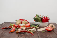 A variety of vegetables. Tomatoes cucumbers potatoes Royalty Free Stock Photography