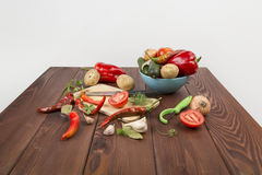 A variety of vegetables. Tomatoes cucumbers potatoes Royalty Free Stock Image
