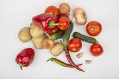 A variety of vegetables. Tomatoes cucumbers potatoes Stock Photos