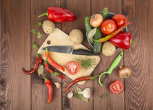 A variety of vegetables. Tomatoes cucumbers potatoes Stock Image