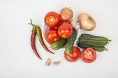 A variety of vegetables. Tomatoes cucumbers potatoes Royalty Free Stock Images