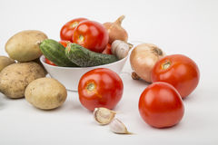 A variety of vegetables. Tomatoes cucumbers potatoes Royalty Free Stock Photos