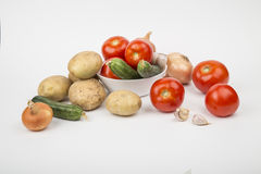 A variety of vegetables. Tomatoes cucumbers potatoes Royalty Free Stock Photo