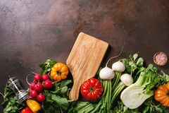 Variety of vegetables. Variety of wet raw fresh organic colorful vegetables tomatoes, radish with leaves, fennel, paprika, salt, pepper, wooden chopping board Royalty Free Stock Photos