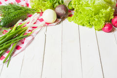 Variety of vegetables on a white wooden table together with a red checkered cloth. View from above Stock Images