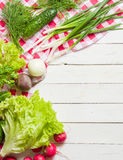 Variety of vegetables on a white wooden table together with a red checkered cloth. View from above Royalty Free Stock Photo
