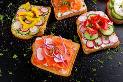 Variety of vegetarian toast sandwiches with salmon, raddish, tomatoes, cucumber, avocado,fried egg and sweet pepper Royalty Free Stock Images