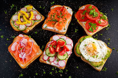 Variety of vegetarian toast sandwiches with salmon, raddish, tomatoes, cucumber, avocado,fried egg and sweet pepper Stock Image