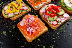 Variety of vegetarian toast sandwiches with salmon, raddish, tomatoes, cucumber, avocado,fried egg and sweet pepper Stock Photos