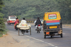 Variety of vehicles on indian road Royalty Free Stock Images