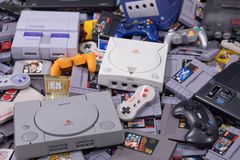 A Variety of Video Games, Consoles and Controllers stock photo