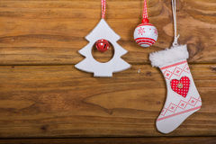 Variety of vintage Christmas decoration Stock Photo