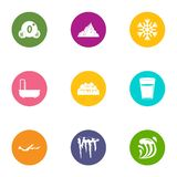 Variety of water icons set, flat style. Variety of water icons set. Flat set of 9 variety of water vector icons for web isolated on white background Royalty Free Illustration