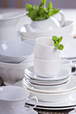 Variety of white dinnerware Royalty Free Stock Image