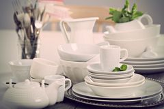 Variety of white dinnerware Stock Photo