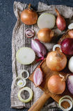 Variety of whole and sliced onion Stock Photo