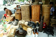 Variety of wood products sold at a store in Dapitan Arcade in Manila, Philippines Royalty Free Stock Photos