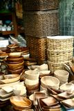 Variety of wood products sold at a store in Dapitan Arcade in Manila, Philippines Royalty Free Stock Photography