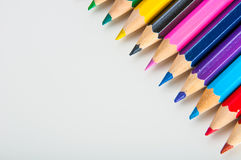 Variety of wooden color pencils, isolated Stock Photography