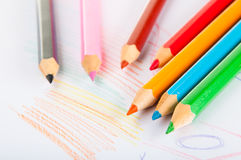 Variety of wooden color pencils,  Stock Images