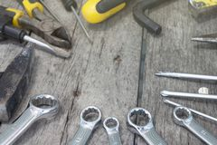 Variety of working tools on table. stock image