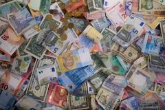 Variety of the world banknotes Stock Photography