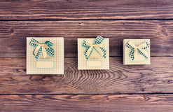 Variety of Wrapped Gifts from Above Stock Photos