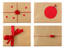 Variety of 4 wrapped gifts in red color theme Stock Photos