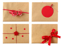 Variety of wrapped presents in red color theme Royalty Free Stock Photos