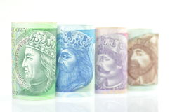 Variety of zloty banknotes from Poland Royalty Free Stock Photo