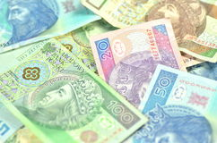 Variety of zloty banknotes from poland Stock Photo