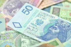 Variety of zloty banknotes from poland Royalty Free Stock Image