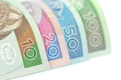 Variety of zloty banknotes from Poland Royalty Free Stock Photos
