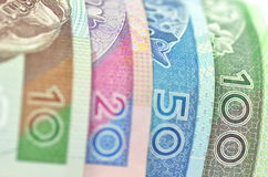 Variety of zloty banknotes from Poland Royalty Free Stock Photography