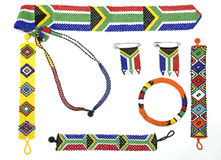 Variety of Zulu Beadwork Threaded into Bracelets and Flags Royalty Free Stock Photography
