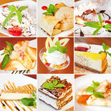 Vario collage dei dessert Fotografia Stock