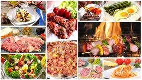 Vario collage delizioso di ricette dell'alimento stock footage