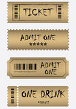 Vario conjunto de oro del boleto Fotos de archivo libres de regalías