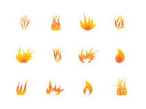 Vario conjunto del icono de las llamas Imagenes de archivo